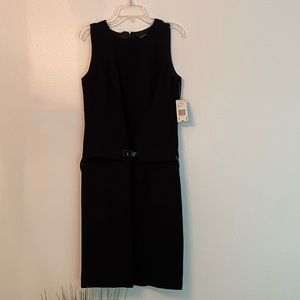 Black Kasper belted dress, NWT